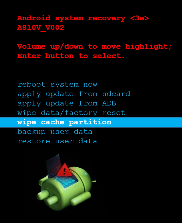 Omnium1 Recovery Screen - Wipe cache